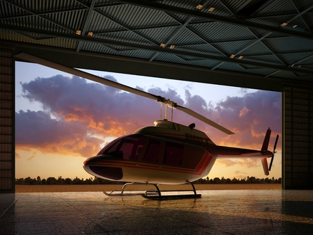 helicopters: Civilian helicopter in the hangar. Stock Photo