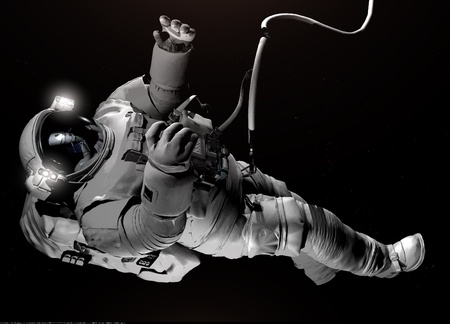 space shuttle: The astronaut  in outer space