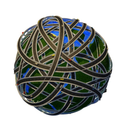 cartoon transportation: Model of the globe on a white background.