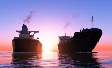 일몰에서 두 화물선.