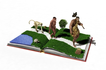 beauty of nature: Ape, primitive  man on the book. Stock Photo
