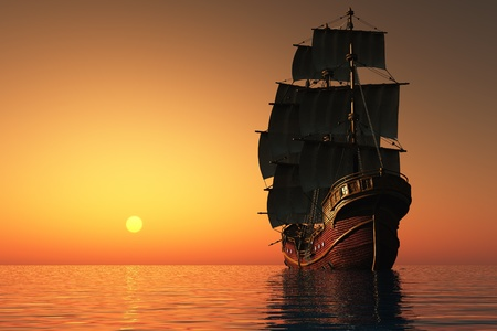 Evening Landscape with sailing ship in the sea.