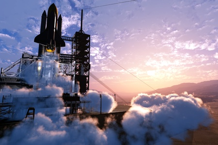 shuttle: Baikonur met het ruimteschip tegen de hemel