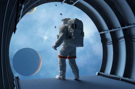 宇宙船のトンネル内の宇宙飛行士。