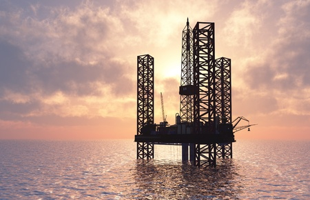 construction platform: Petrochemical tower on the background of the sea.