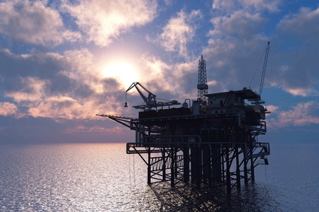 Petrochemical tower on the background of the sea. photo