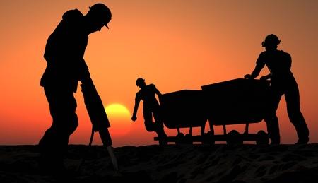 Twee mijnwerkers met een kar. Stockfoto