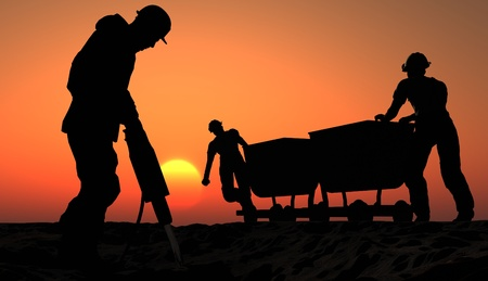 COAL MINER: Two miners with a cart. Stock Photo