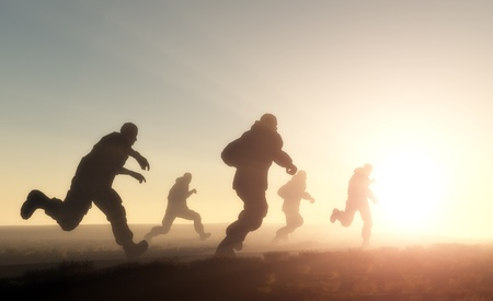 female soldier: A group of men running in from the sun.