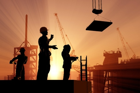work material: Human figures builders in the sky. Stock Photo