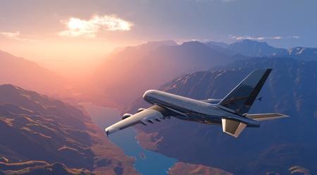 The passenger plane on a background an  landscape Banque d'images