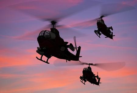silhouette soldat: Un groupe d'hélicoptères militaires.
