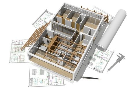 construction plans: Model of a modern apartment. Stock Photo