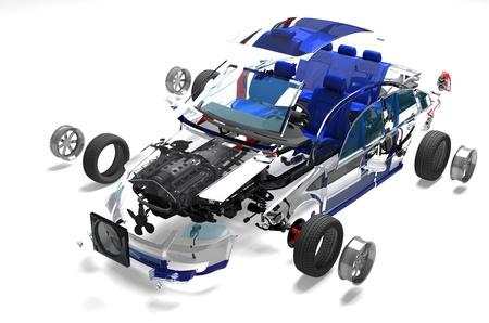 Zerlegt Auto auf einem wei?en Hintergrund. Standard-Bild - 20454429