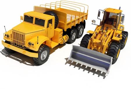 power shovel: Construction equipment on a white background.
