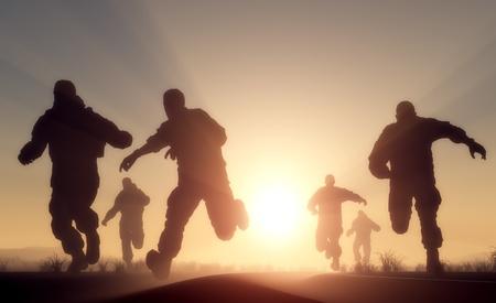 hombres corriendo: Un grupo de hombres que se ejecutan en el sol.