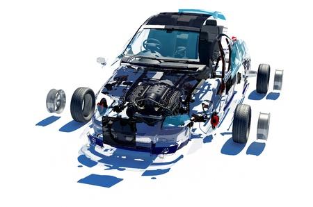 piezas coche: Coche desmontado sobre un fondo blanco. Foto de archivo