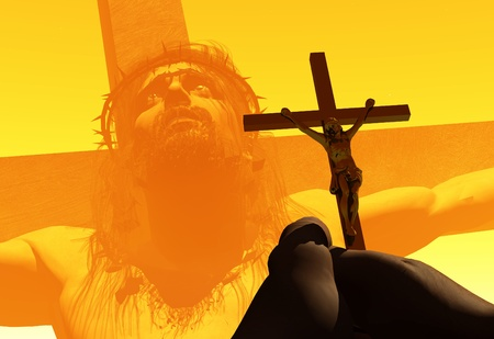 Crucifix in hand on a background of Jesus Christ. Banque d'images