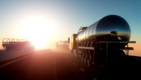 barco petrolero: Camiones para el transporte de combustible. Foto de archivo