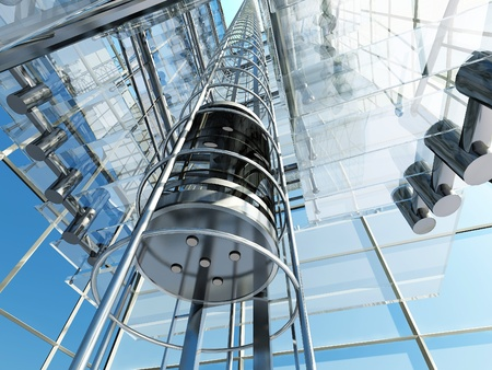 futuristic city: The interior of a modern building with an elevator. Stock Photo