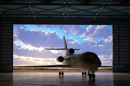 hangar: The  passenger aircraft in the hangar.