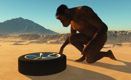 Primitive man has car wheels. Stock Photo - 20478259