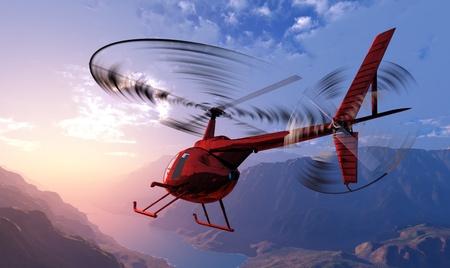 Civiele helikopter in de lucht. Stockfoto