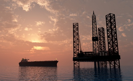 oil platforms: Oil production into the sea from above.