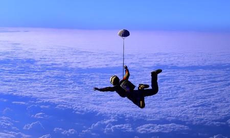 parachuting: Parashutist against the blue sky.