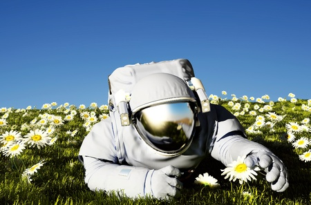 Astronaut on the field with  flowers.