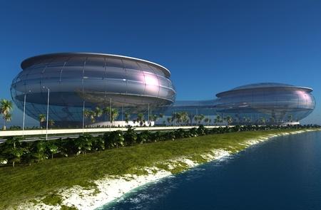 ashore: Sky-scrapers of modern city ashore