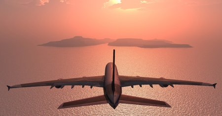air speed: The passenger plane on a background an  landscape Stock Photo