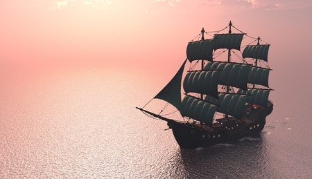 merchant: Antique sailing ship at sea. Stock Photo