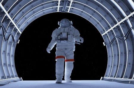 tunnel view: Astronaut in the tunnels of the spacecraft.