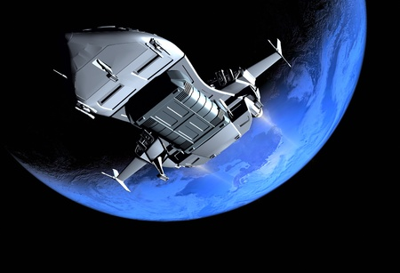 space travel: The space ship in outer space