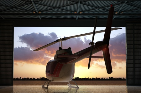 rescue helicopter: Civilian helicopter in the hangar. Stock Photo