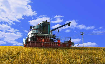 Machines for harvesting on a background blue sky photo
