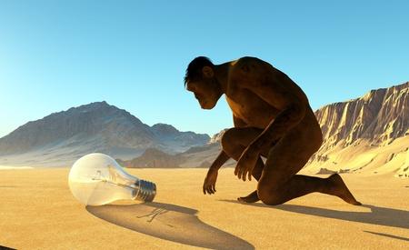 edad de piedra: El hombre primitivo y la luz en el fondo de un lanshafty montaña.