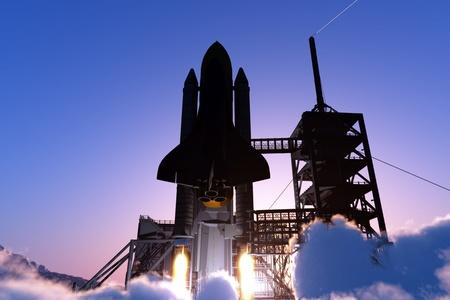 スペースに、宇宙船を起動します。 写真素材