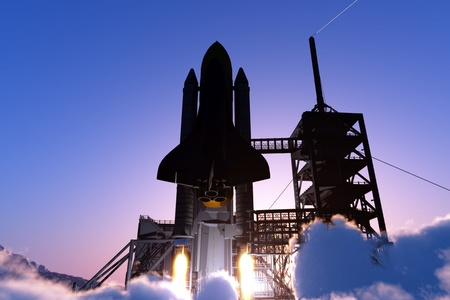 launching: Launch a spacecraft into space. Stock Photo