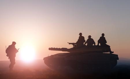 silhouette soldat: Réservoir et un soldat sur un fond de nature
