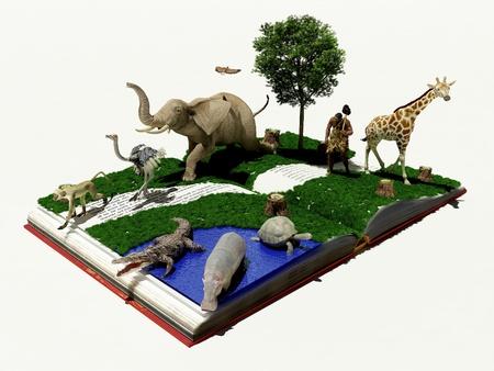 Wilde dieren in het boek. Stockfoto