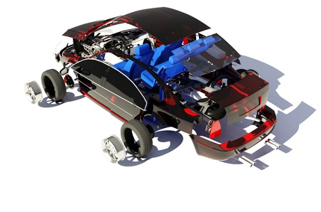 assembly: Disassembled car on a white background.