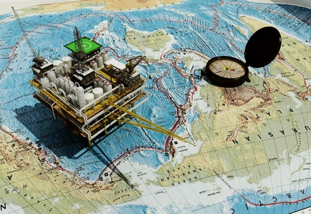 exploration: Plant for the extraction of oil on the world map. Stock Photo