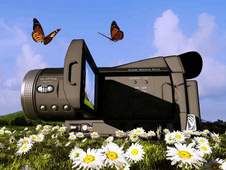 tv camera: Camera and a butterfly on the grass.