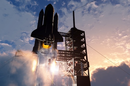 launch vehicle: Launch a spacecraft into space. Stock Photo