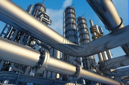 productos quimicos: Tubos de la fábrica en un fondo del cielo