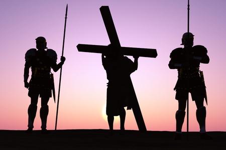 resurrección: El Jesús crucificado y los soldados.