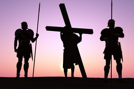 The crucified Jesus and the soldiers. photo