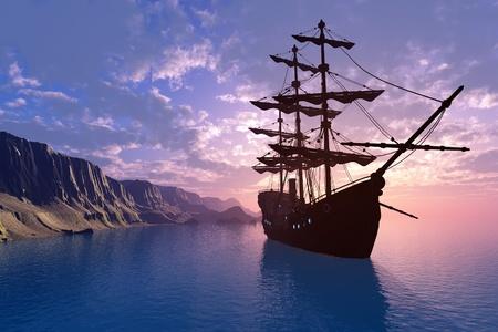 The ship near the coast.